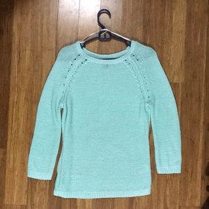 Sea Green Knit Breathable Oversized Sweater